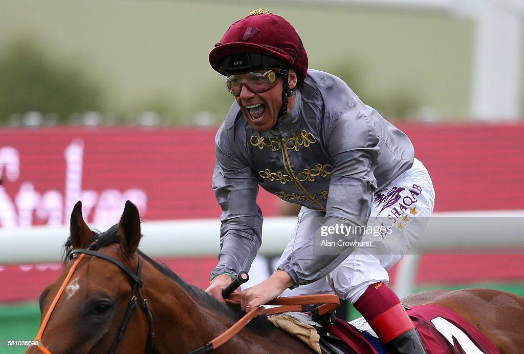 Frankie Dettori celebrates after riding Mehmas to win The Qatar Richmond Stakes at Goodwood on July 28, 2016 in Chichester, England.
