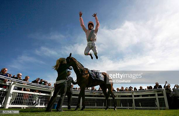 Frankie Dettori celebrates after riding So Mi Dar to win The Investec Derby Trial at Epsom racecourse on April 20 2016 in Epsom England