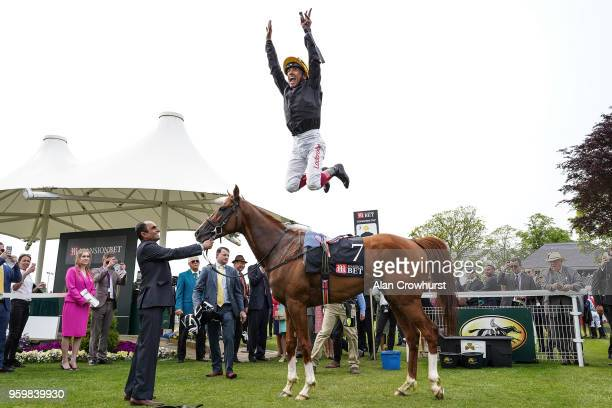 Frankie Dettori celebrates after riding Stradivarius to win The MansionBet Yorkshire Cup at York Racecourse on May 18 2018 in York United Kingdom