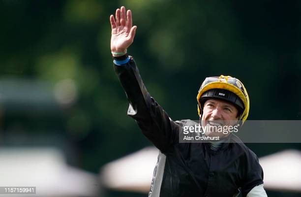 Frankie Dettori celebrates after riding Stradivarius to win The Gold Cup on day three of Royal Ascot at Ascot Racecourse on June 20, 2019 in Ascot,...
