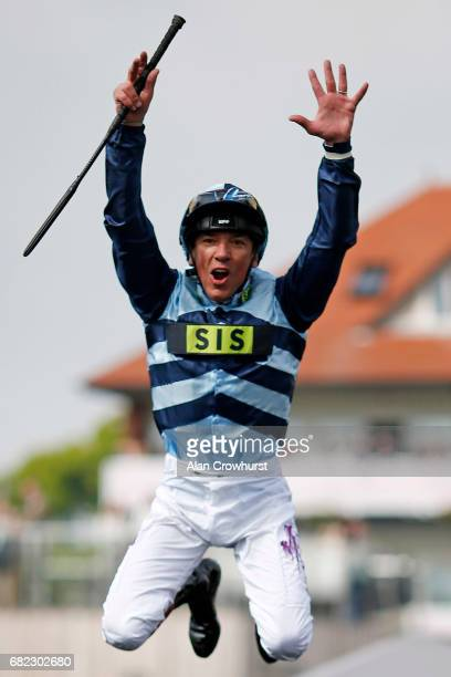 Frankie Dettori celebrates after riding Western Hymn to win The Boodles Diamond Ormonde Stakes at Chester Racecourse on May 12 2017 in Chester England