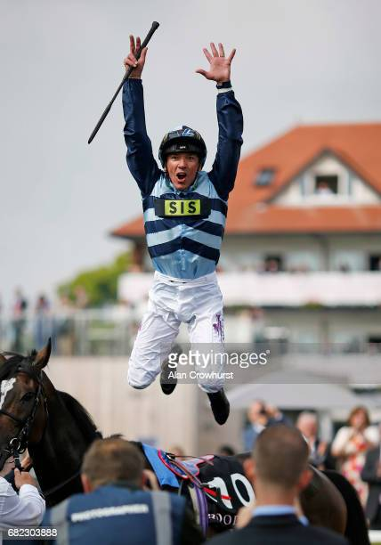 Frankie Dettori celebrates after riding Western Hymn to win The Boodles Diamond Ormonde Stakes at Chester Racecourse on May 12, 2017 in Chester,...