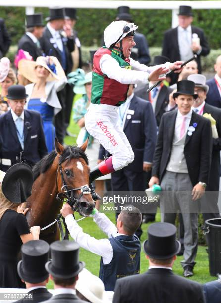 Frankie Dettori celebrates after riding Without Parole to win The St James's Palace Stakes on day 1 of Royal Ascot at Ascot Racecourse on June 19...
