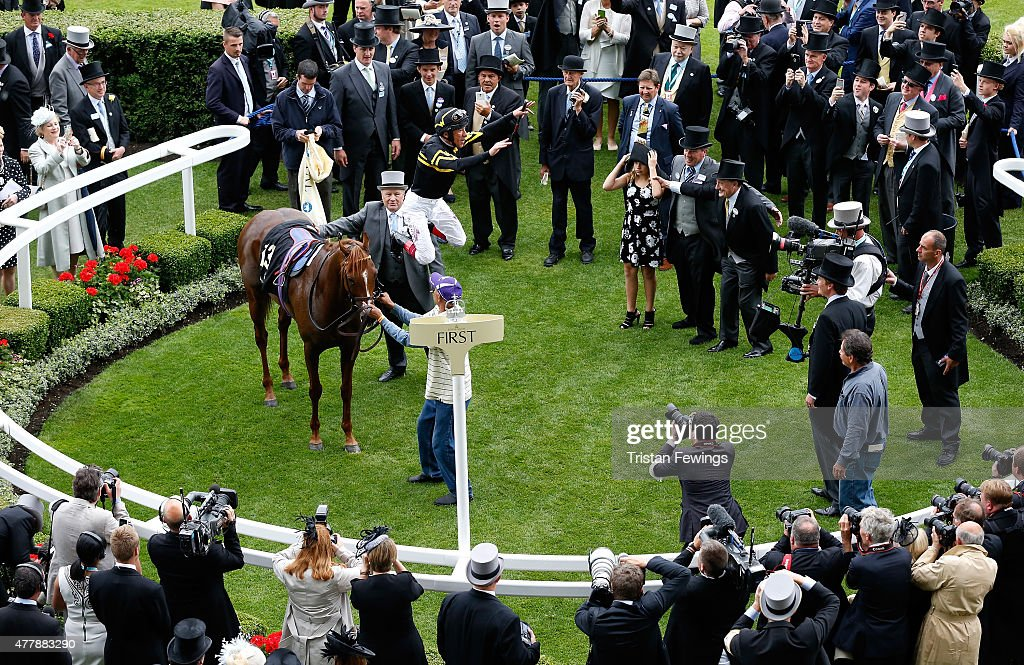 Frankie Dettori celebrates after winning the Diamond Jubilee Stakes riding Undrafted during day 5 of Royal Ascot 2015 at Ascot racecourse on June 20, 2015 in Ascot, England.