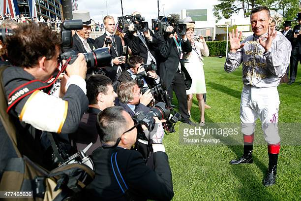 Frankie Dettori celebrates after winning the Sandringham Handicap Stakes marking his 50th win at Ascot during day 2 of Royal Ascot 2015 at Ascot...