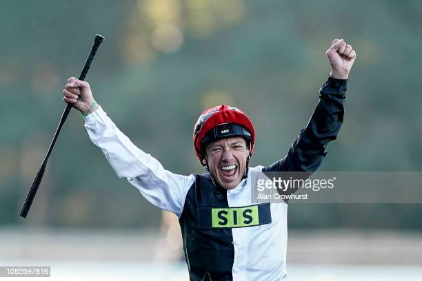 Frankie Dettori celebrates as he returns after riding Cracksman to win The Qipco Champion Stakes at Ascot Racecourse on October 20, 2018 in Ascot,...