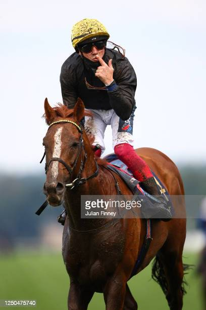 Frankie Dettori celebrates on board Stradivarius after winning the Gold Cup on Day Three of Royal Ascot 2020 at Ascot Racecourse on June 18, 2020 in...