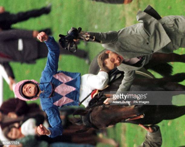 Frankie Dettori celebrates on Fujiyama Crest after winning the Gordon Carter Stakes, today's last race at Ascot. Dettori won all 7 races at Ascot....