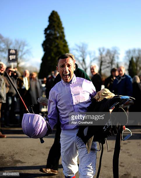 Frankie Dettori celebrates winning The 32Redcom Maiden Stakes at Lingfield racecourse on January 22 2014 in Lingfield England