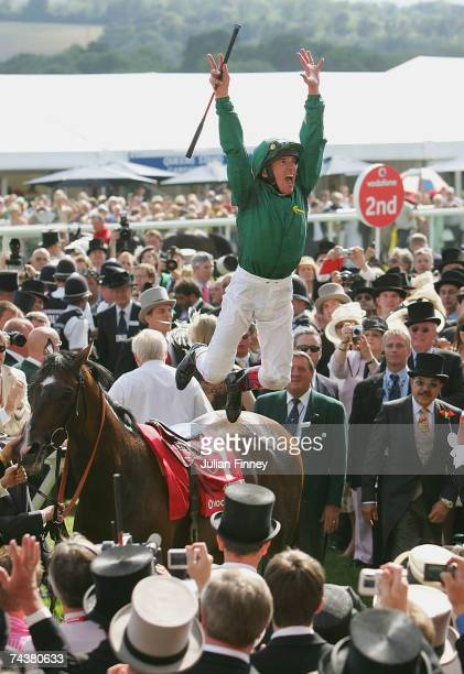 Frankie Dettori celebrates winning the Derby during The Vodafone Derby Race run at Epsom Racecourse on June 2 2007, in Epsom, England.