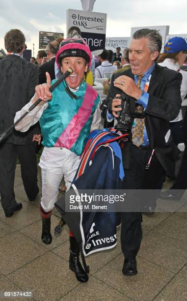 Frankie Dettori celebrates winning the Investec Oaks race during Ladies Day of the 2017 Investec Derby Festival at The Jockey Club's Epsom Downs...