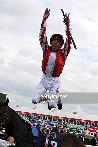 Frankie Dettori celebrates winning The Pepsi Max Flying Childers Stakes riding Ardad at Doncaster Racecourse on September 9 2016 in Doncaster England