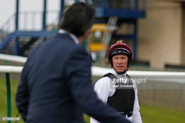 Frankie Dettori chats with Hugo Palmer after riding Galileo Gold in a gallop before racing at Newmarket Racecourse on April 20 2017 in Newmarket...
