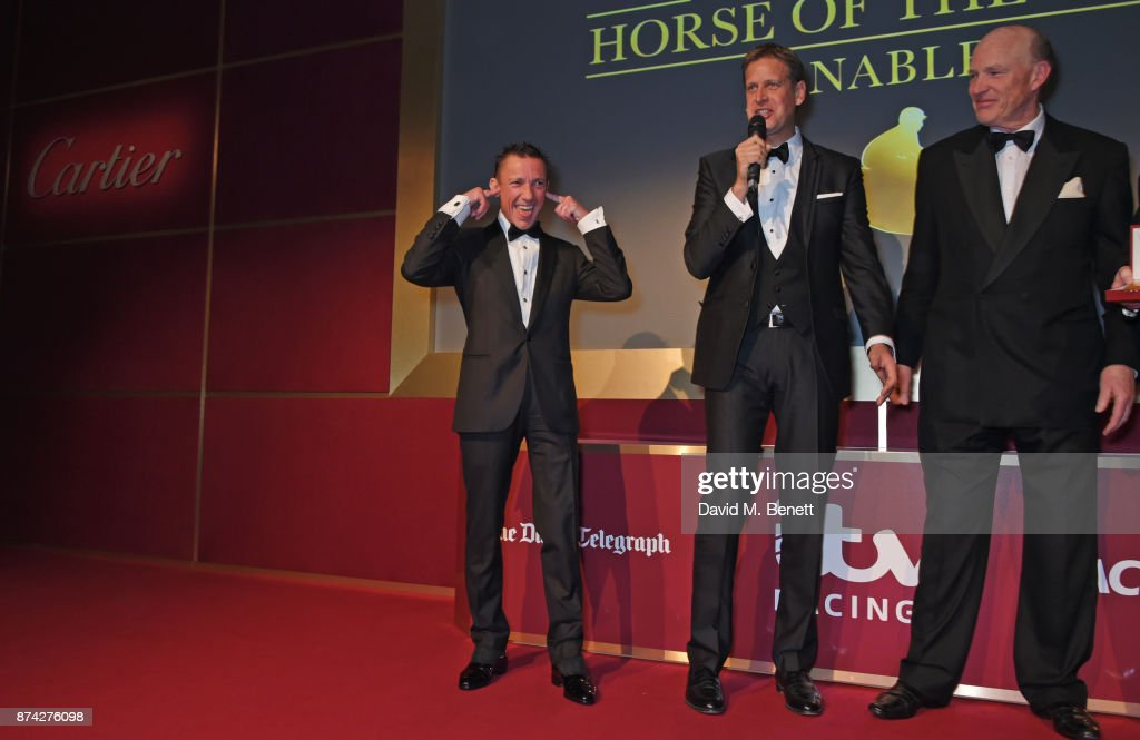 Frankie Dettori, Ed Chamberlin and John Gosden attend The Cartier Racing Awards 2017 at The Dorchester on November 14, 2017 in London, England.