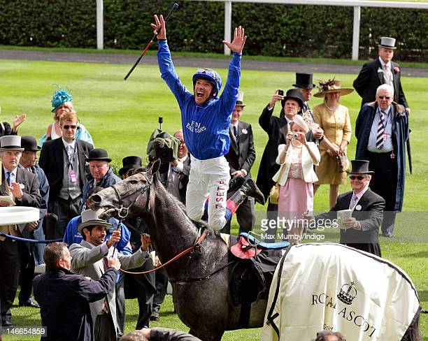 Frankie Dettori jumps off Opinion Pole after winning The Gold Cup horse race on Ladies Day during Royal Ascot at Ascot Racecourse on June 21 2012 in...