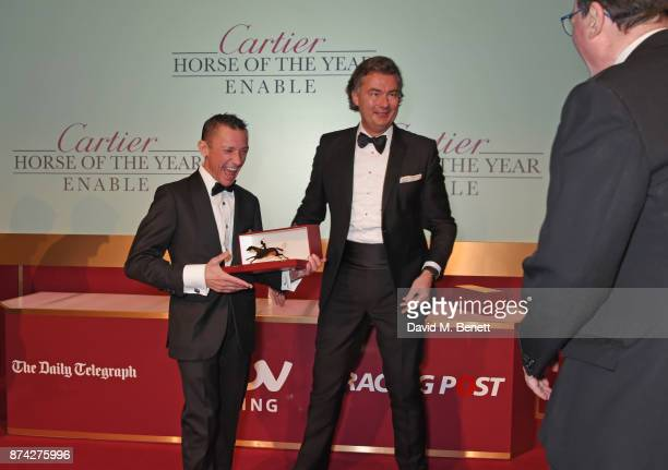Frankie Dettori Laurent Feniou and Lord Grimthorpe attend The Cartier Racing Awards 2017 at The Dorchester on November 14 2017 in London England