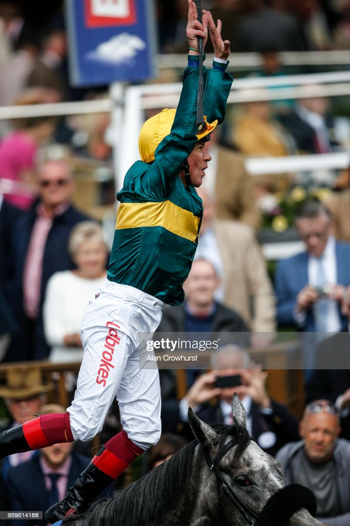 Frankie Dettori leaps from his mount after riding Coronet to win The Betfred Middleton Stakes at York Racecourse on May 17, 2018 in York, United Kingdom.