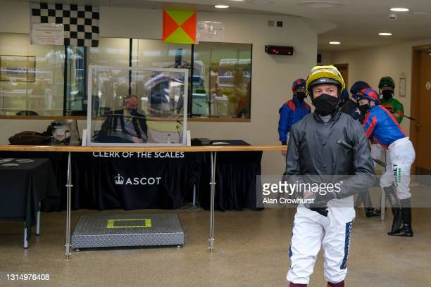Frankie Dettori leaves the weighing room before riding Stradivarius to win The Longines Sagaro Stakes at Ascot Racecourse on April 28, 2021 in Ascot,...