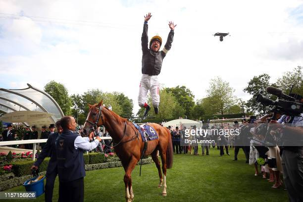Frankie Dettori makes a flying dismount from Stradivarius after winning The Gold Cup on day three of Royal Ascot at Ascot Racecourse on June 20 2019...
