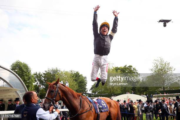 Frankie Dettori makes a flying dismount from Stradivarius after winning The Gold Cup on day three of Royal Ascot at Ascot Racecourse on June 20, 2019...