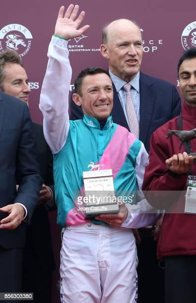 Frankie Dettori of Italy riding 'Enable' trainer John Gosden celebrate winning Qatar Prix de l'Arc de Triomphe 2017 at Hippodrome de Chantilly...
