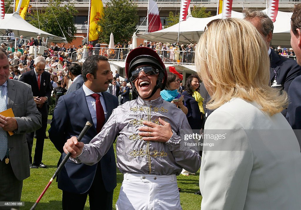 Frankie Dettori on day two of the Qatar Goodwood Festival at Goodwood Racecourse on July 29, 2015 in Chichester, England.