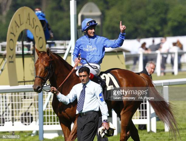 Frankie Dettori on Invisible Man celebrates winning the Royal Hunt Cup at Royal Ascot