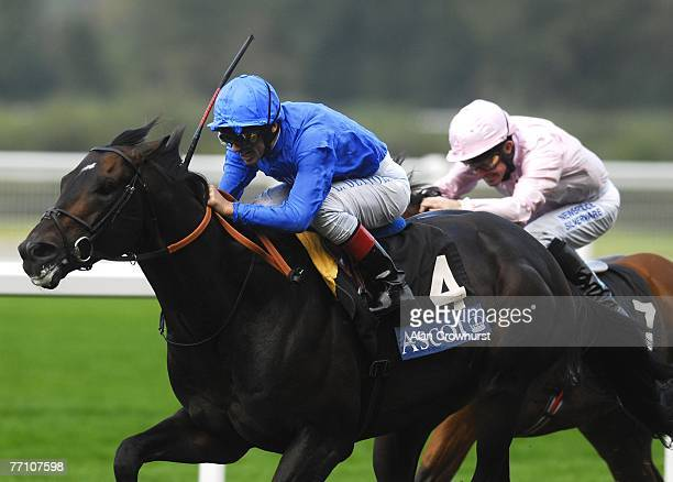 Frankie Dettori on Ramonti wins The Queen Elizabeth II Stakes at Ascot Racecourse on September 29 2007 in Ascot Berkshire England