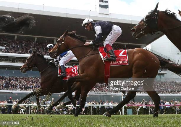 Frankie Dettori rides Almandin during race seven the Emirates Melbourne Cup during Melbourne Cup Day at Flemington Racecourse on November 7 2017 in...