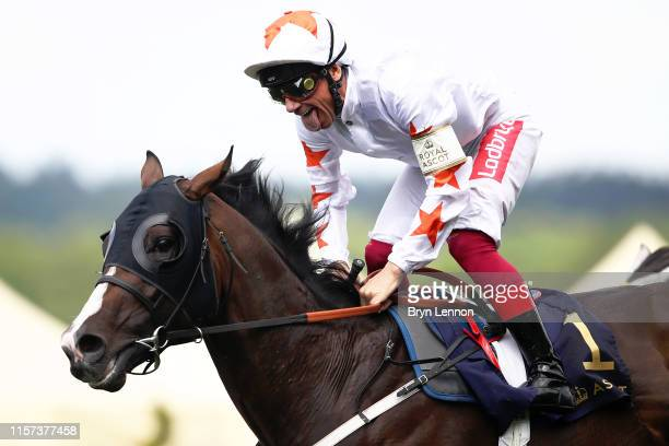 Frankie Dettori riding Advertise reacts to winning The Commonwealth Cup on day four of Royal Ascot at Ascot Racecourse on June 21 2019 in Ascot...