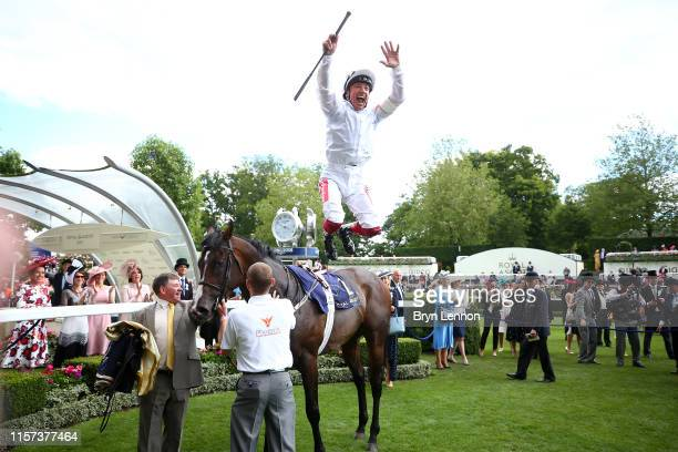 Frankie Dettori riding Advertise reacts to winning The Commonwealth Cup on day four of Royal Ascot at Ascot Racecourse on June 21, 2019 in Ascot,...