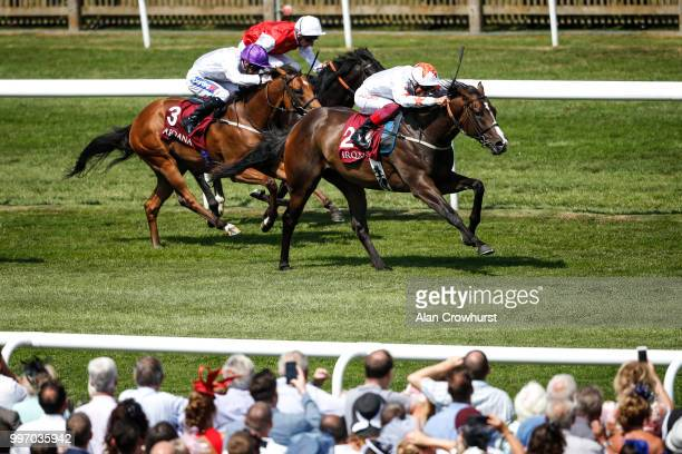 Frankie Dettori riding Advertise win The Arqana July Stakes at Newmarket Racecourse on July 12 2018 in Newmarket United Kingdom