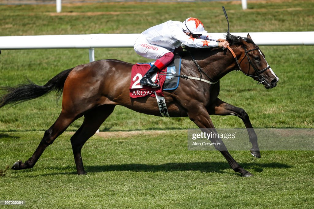 Frankie Dettori riding Advertise win The Arqana July Stakes at Newmarket Racecourse on July 12, 2018 in Newmarket, United Kingdom.