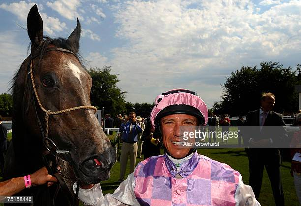 Frankie Dettori riding Amazing Maria win The EBF British Stallion Studs New Ham Maiden Fillies' Stakes at Goodwood racecourse on August 01 2013 in...