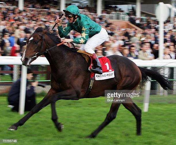 Frankie Dettori riding Authorized crosses the line to win the Racing Post Trophy at Newbury Racecourse on October 21 2006 in Newbury England