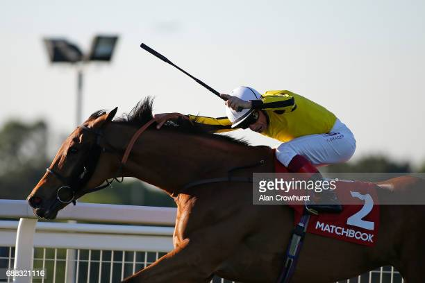 Frankie Dettori riding Big Orange win The Matchbook VIP Henry II Stakes at Sandown Park on May 25 2017 in Esher England
