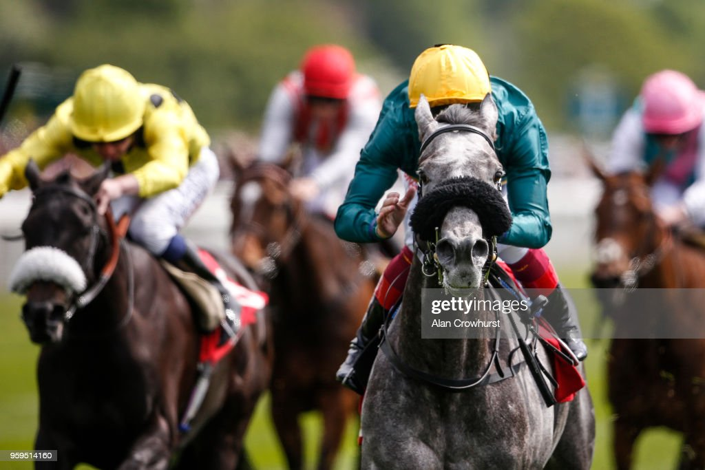 Frankie Dettori riding Coronet (R) win The Betfred Middleton Stakes at York Racecourse on May 17, 2018 in York, United Kingdom.