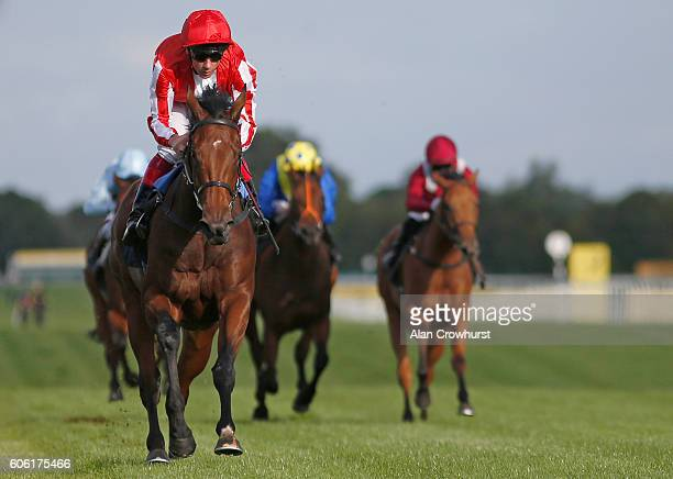 Frankie Dettori riding Dabyah win The Dubai Duty Free Full Of Suprises EBF Stallions Fillies' Conditions Stakesat Newbury Racecourse on September 16...