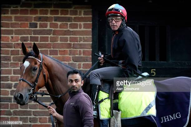 Frankie Dettori riding Enable before exercising on the Rowley Mile course at Newmarket Racecourse on September 25, 2019 in Newmarket, England.