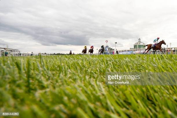 Frankie Dettori riding Enable eases down after winning The Darley Yorkshire Oaks at York racecourse on August 24 2017 in York England