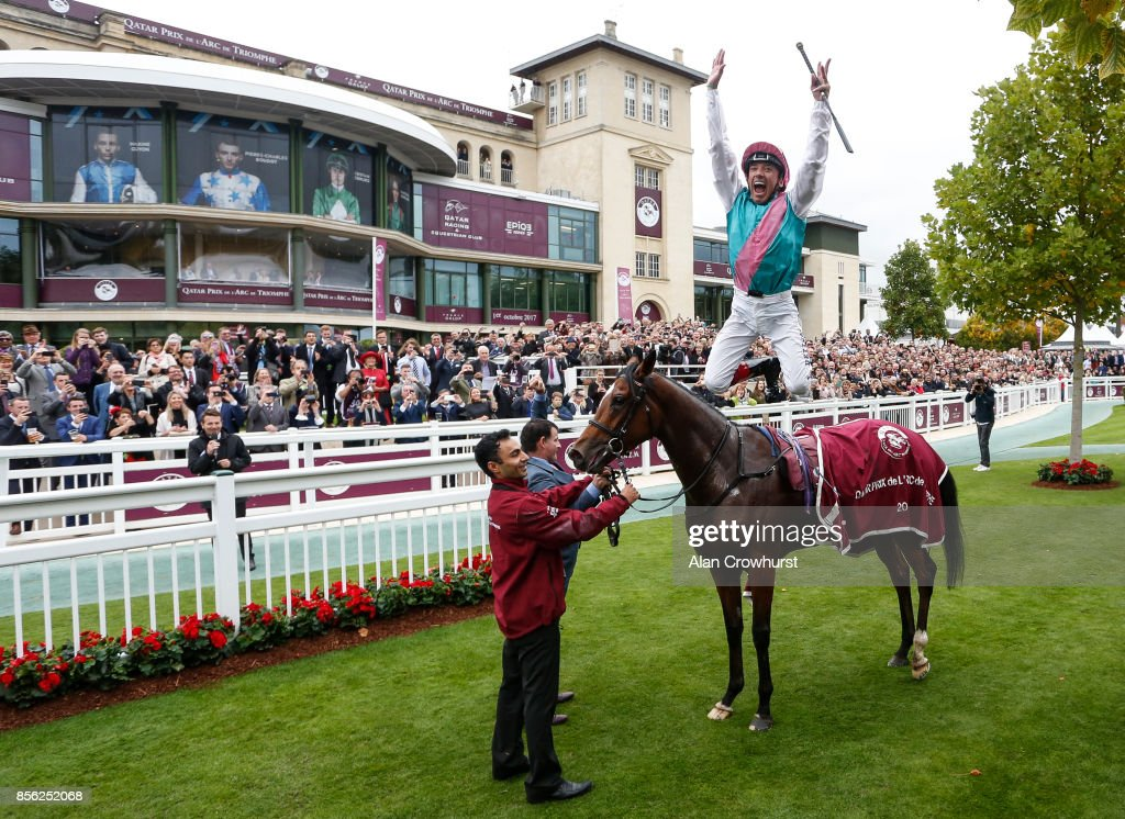 Frankie Dettori riding Enable win The Prix de l'Arc de Triomphe during Prix de l'Arc de Triomphe meeting at Chantilly Racecourse on October 1, 2017 in Chantilly, France.