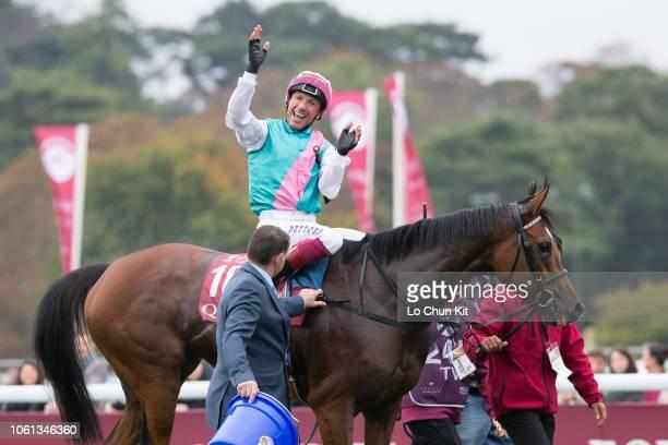 Frankie Dettori riding Enable wins the 97th Qatar Prix de l'Arc de Triomphe at ParisLongchamp Racecourse on October 7 2018 in France