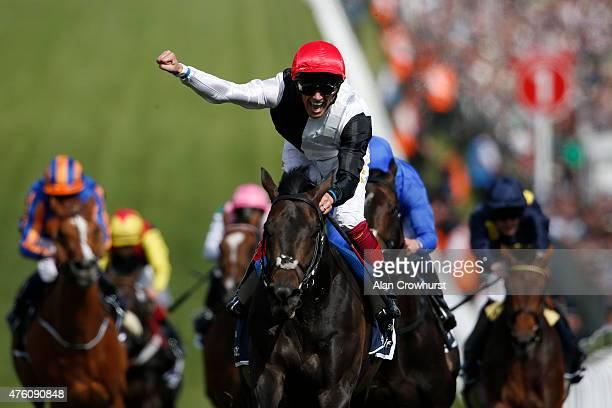Frankie Dettori riding Golden Horn win The Investec Derby at Epsom racecourse on June 06, 2015 in Epsom, England.