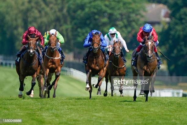 Frankie Dettori riding Inspiral win The British Stallion Studs EBF Star Stakes at Sandown Park Racecourse on July 22, 2021 in Esher, England.