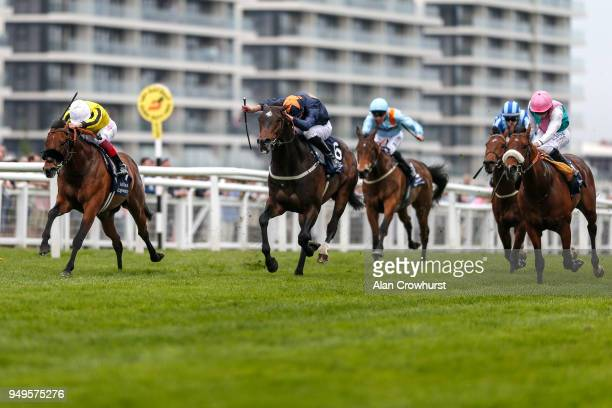 Frankie Dettori riding James Garfield win The Al Basti Equiworld Supporting Greatwood Greenham Stakes at Newbury racecourse on April 21 2018 in...