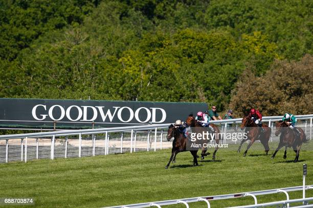 Frankie Dettori riding Khalidi win The EBF Stallions Cocked Hat Stakes at Goodwood racecourse on May 26 2017 in Chichester England