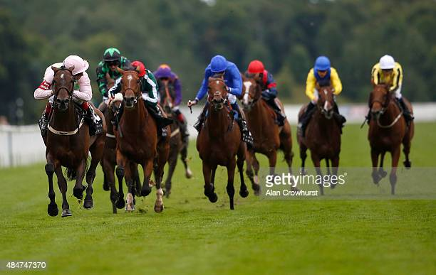 Frankie Dettori riding Max Dynamite win The Weatherbys Hamilton Lonsdale Cup at York racecourse on August 21 2015 in York England