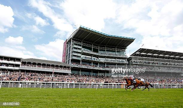 Frankie Dettori riding Recorder win The Tattersalls Acomb Stakes at York racecourse on August 19 2015 in York England