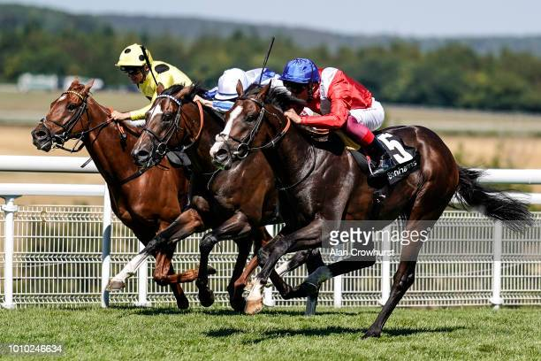 Frankie Dettori riding Regal Reality win The Bonhams Thoroughbred Stakes at Goodwood Racecourse on August 3 2018 in Chichester United Kingdom