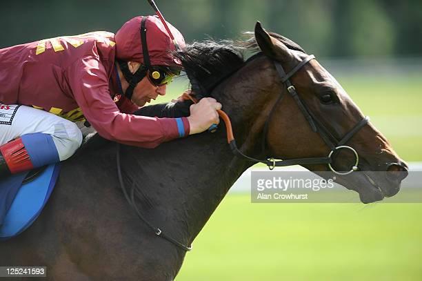 Frankie Dettori riding Sour Mash win The Dubai Duty Free Finest Surprise Stakes at Newbury racecourse on September 16 2011 in Newbury England